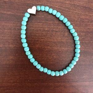 Turquoise beaded heart charm stretch bracelet